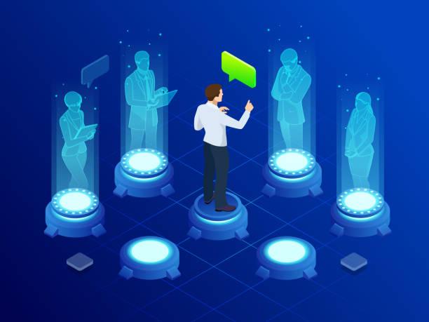 ilustrações de stock, clip art, desenhos animados e ícones de isometric man communicates with abstract futuristic screen holograms. business conference. the concept of network, communication, business, technology, augmented reality - hologram