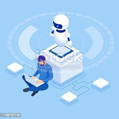 Isometric man programming of robot, settings artificial intelligence