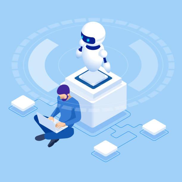 stockillustraties, clipart, cartoons en iconen met isometrische man programmering van robot, instellingen kunstmatige intelligentie. - automatiseren
