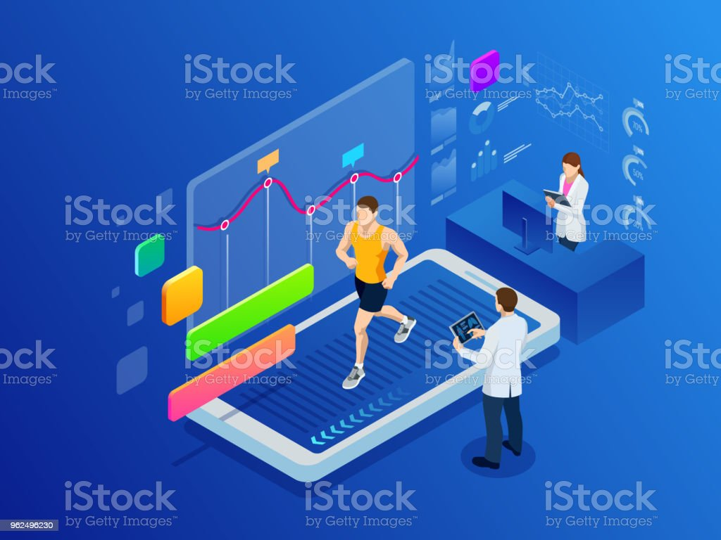 Isometric man running on a smartphone treadmill and exercising fitness app and sports under the supervision of doctors. Cardio control digital mobility exercise athlete. Health and longevity. - Royalty-free Illustration stock vector