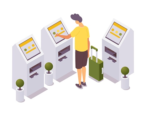 Isometric man self check-in for the flight at airport.