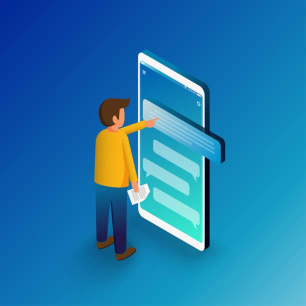 Hombre isométrico escribiendo en un Smartphone móvil. Mensajes SMS Chat y burbujas de voz.  Ilustración de vector plano. - ilustración de arte vectorial