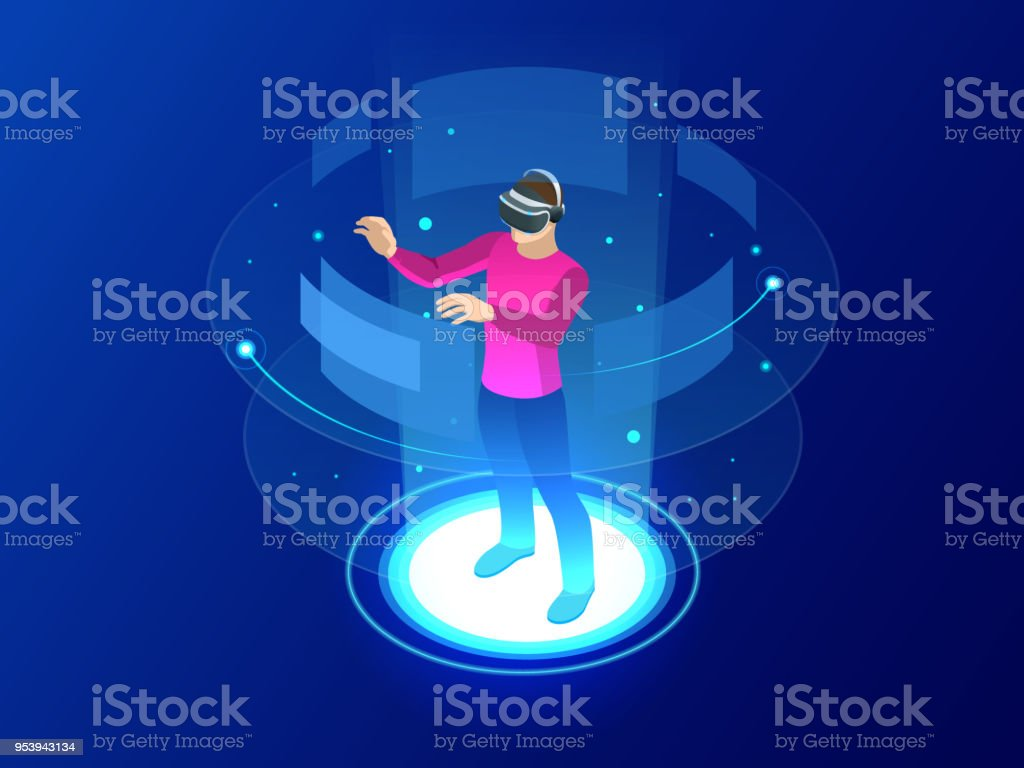 Isometric Man wearing goggle headset with touching vr interface. Into virtual reality world. Future technology vector art illustration
