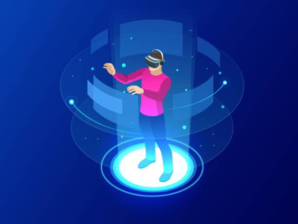 Isometric Man wearing goggle headset with touching vr interface. Into virtual reality world. Future technology Isometric Man wearing goggle headset with touching vr interface. Into virtual reality world. Future technology. Vector illustration vr stock illustrations