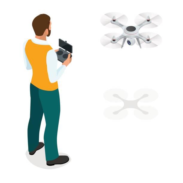isometrische mann mit drone quadrocopter, remote luftbild drohne mit einer kamera, die fotografie oder video-aufzeichnung. spiel sevremennaya, isometrien geschäftsmann. auf einem hellen hintergrund. vektor-illustration. - tierfotografie stock-grafiken, -clipart, -cartoons und -symbole