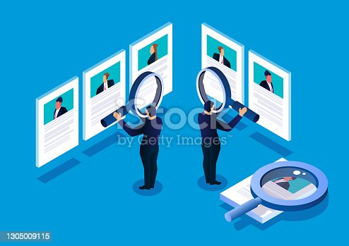 istock Isometric manager holding a magnifying glass to view recruitment resume, concept of recruitment and human resources 1305009115