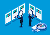 Isometric manager holding a magnifying glass to view recruitment resume, concept of recruitment and human resources