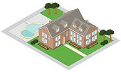 A vector illustration of an isometric affluent mansion with grounds and swimming pool.