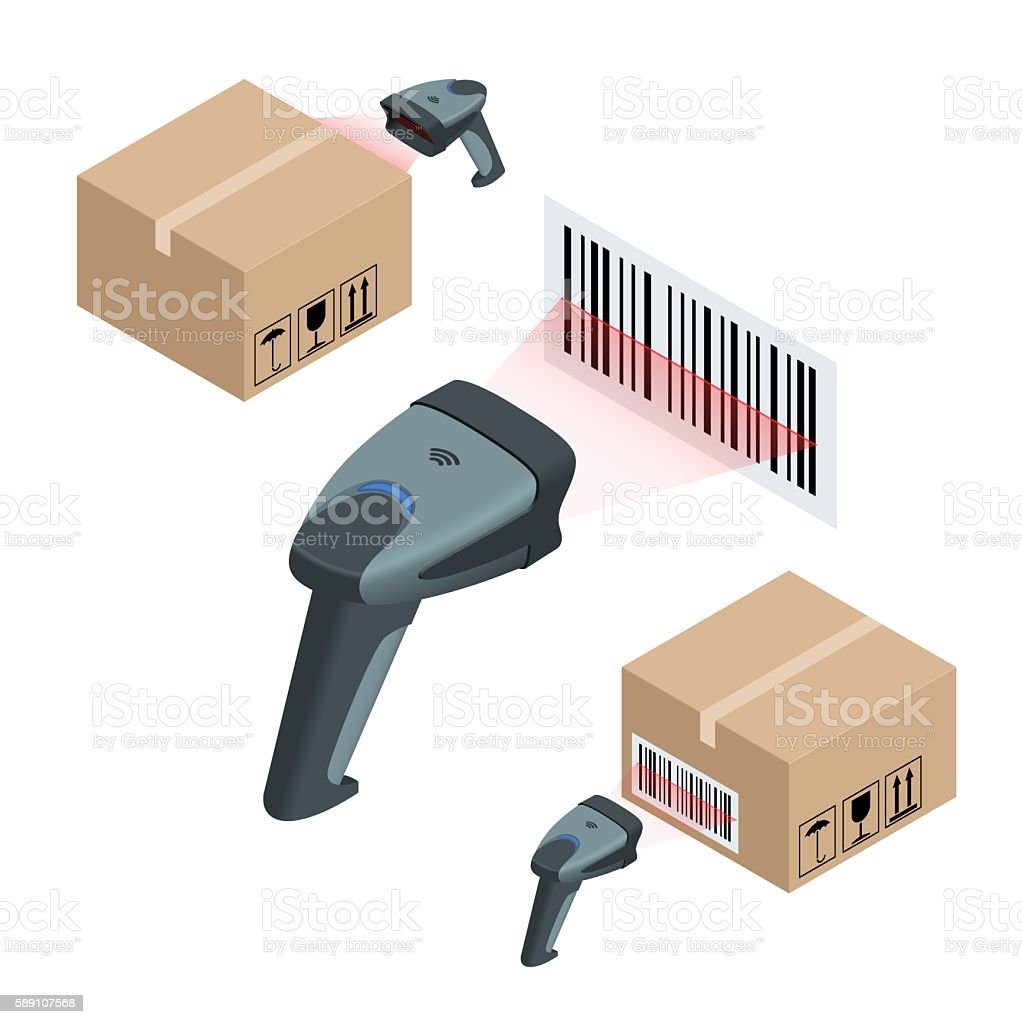 Isometric manual scanner of bar codes vector art illustration