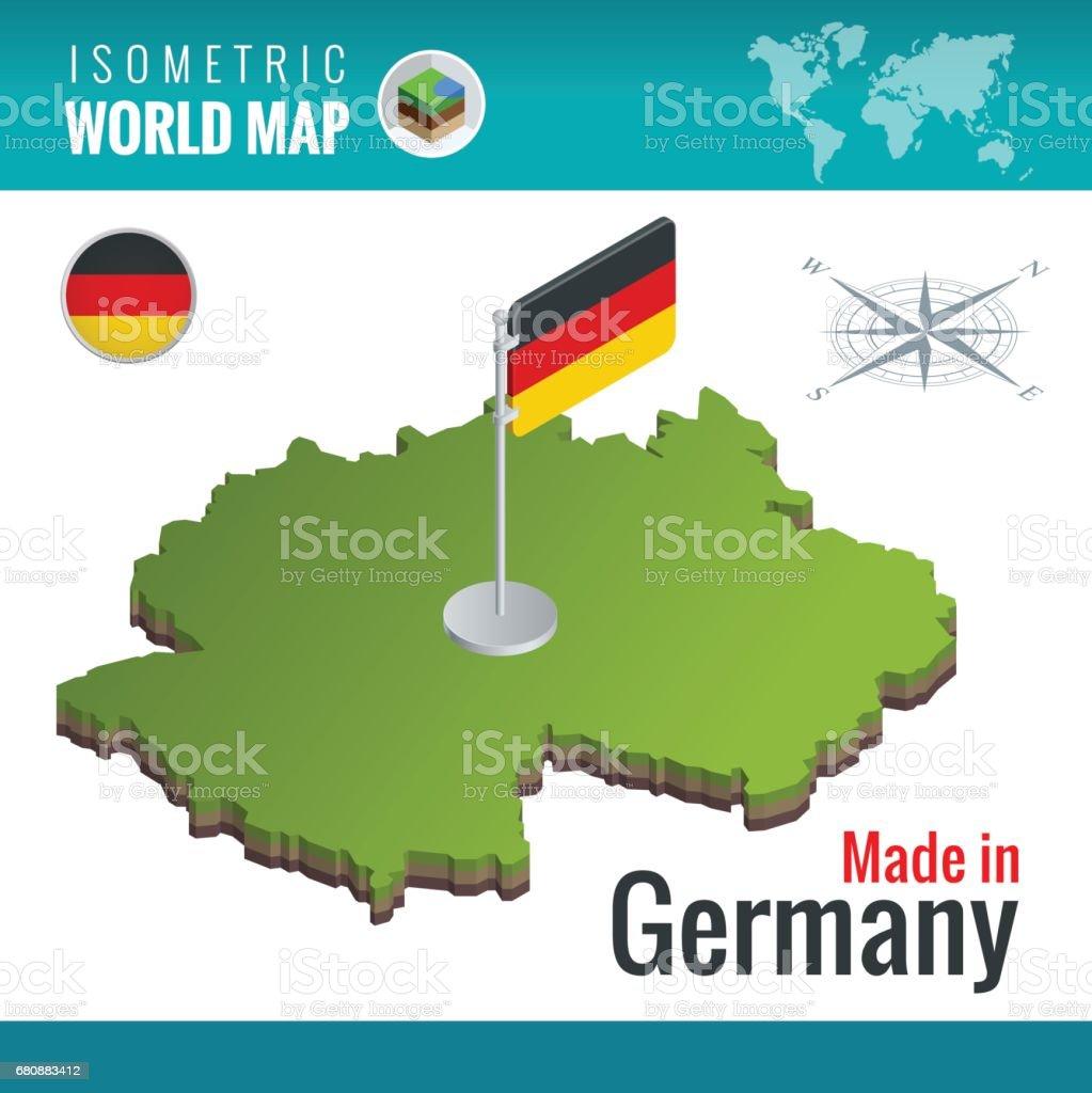 mapa isomtrico y la bandera de la alemania o deutschland mapa isomtrico y la bandera