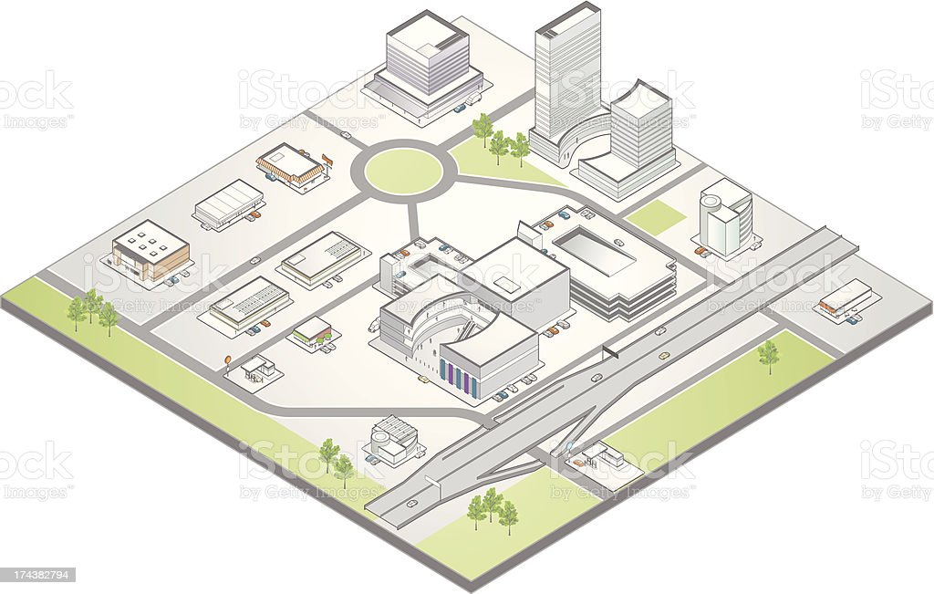Isometric map of a suburban commercial district vector art illustration