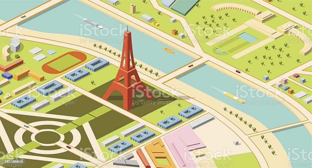 Isometric map of Eiffel Tower and environs royalty-free stock vector art