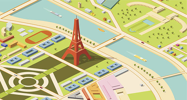 Isometric map of Eiffel Tower and environs Paris, isometric map of Eiffel Tower and environs. Champs de Mars, River Seine and nearby palaces are visible. seine river stock illustrations
