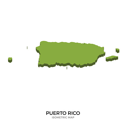 Isometric map of Puerto Rico detailed vector illustration