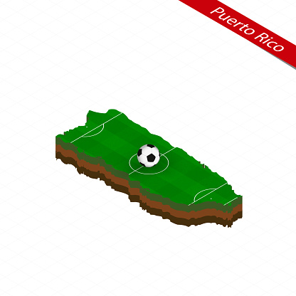 Isometric map of Puerto Rico with soccer field. Football ball in center of football pitch.