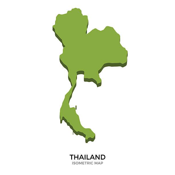 izometryczny mapa szczegółowa ilustracja wektorowa z tajlandii - tajlandia stock illustrations