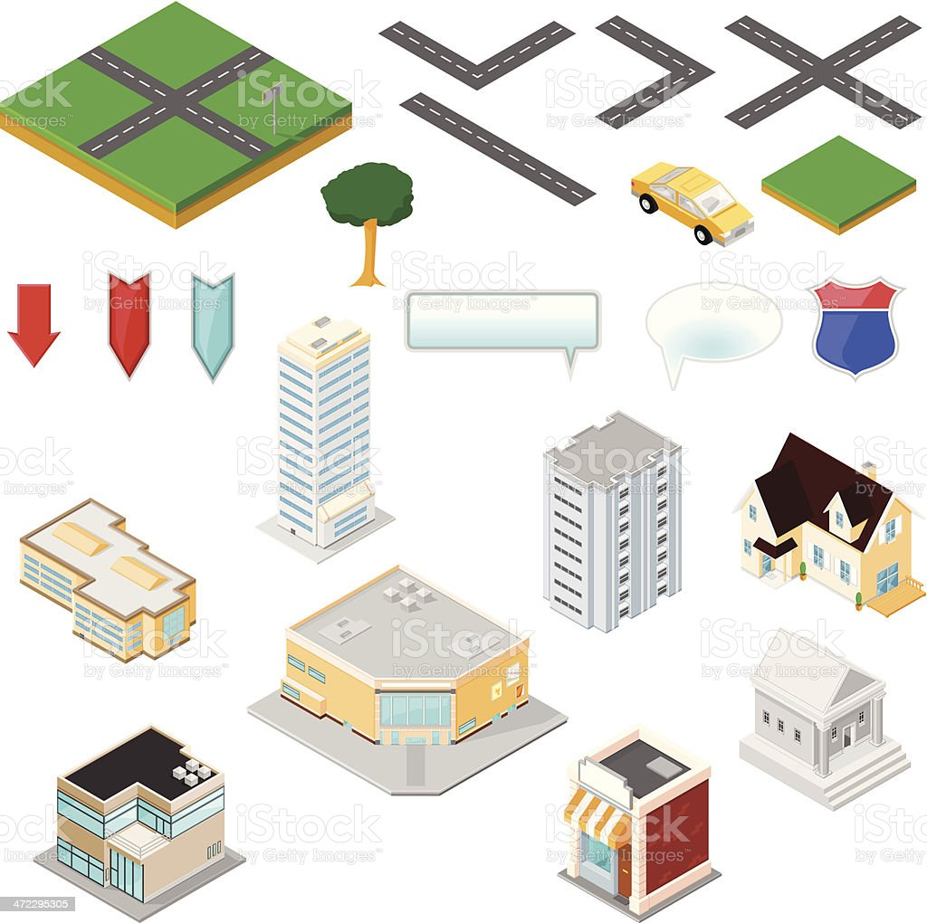 Isometric Map Tool Kit royalty-free stock vector art