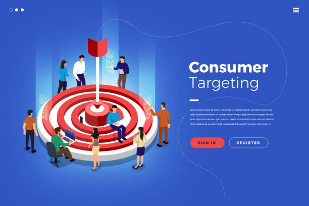 Isometric Market Targeting Isometric illustrations design concept teamwork building market targeting together. Vector illustrate. audience stock illustrations