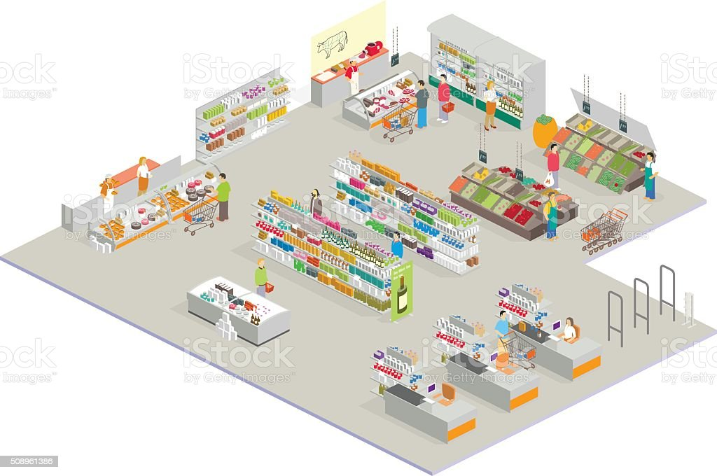 isometric market vector art illustration