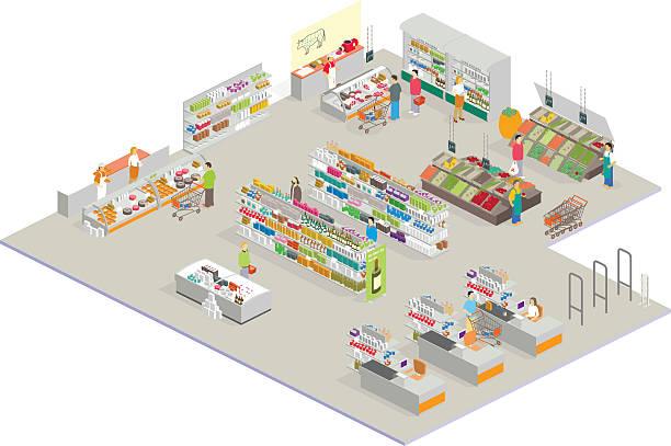 アイソメトリック市場 - 小売販売員点のイラスト素材/クリップアート素材/マンガ素材/アイコン素材