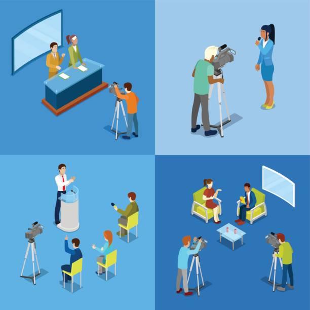 illustrations, cliparts, dessins animés et icônes de concept de médias isométrique avec reporters et journalistes - interview
