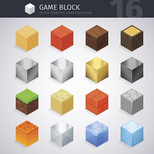 bildbanksillustrationer, clip art samt tecknat material och ikoner med isometric material cubes - wood stone
