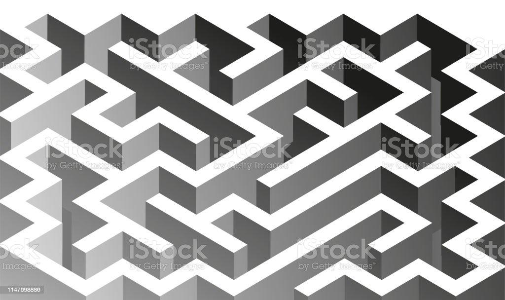 3d Isometric Maze Design Solving Problem Concept Stock Illustration