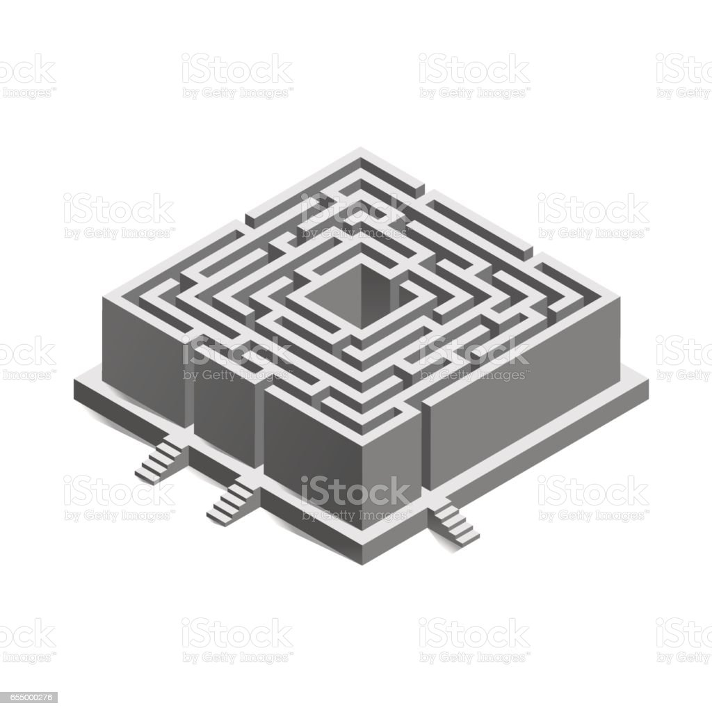 Isometric Maze Labyrinth For Business Concept Infographic Template ...