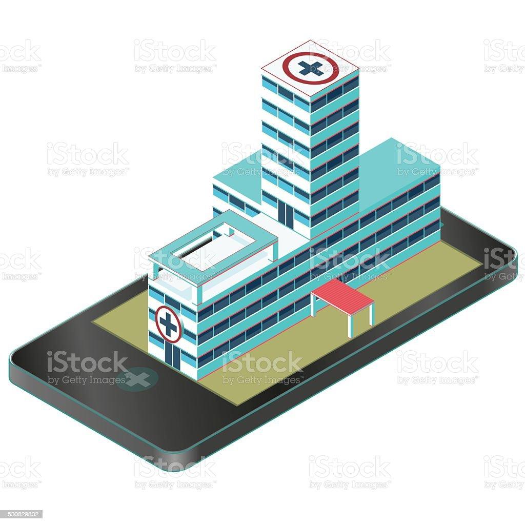 Isometric medical building in mobile phone. Pharmacy pictogram. Infographic element. vector art illustration
