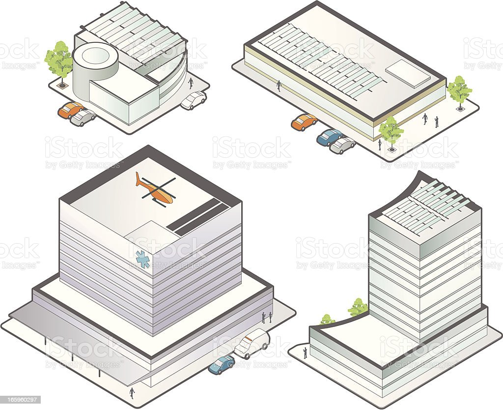 Isometric Medical Buildings vector art illustration