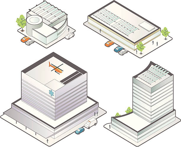isometric medical buildings - mathisworks people icons stock illustrations, clip art, cartoons, & icons