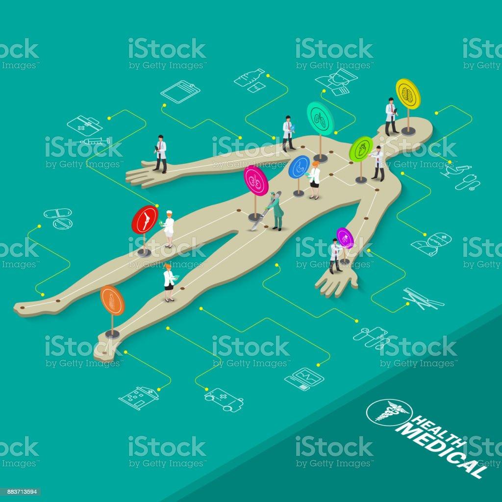 等尺性医療オブジェクト。平らな 3 d 医師、看護師、解剖学と化学のオブジェクト。ベクトル図 ベクターアートイラスト