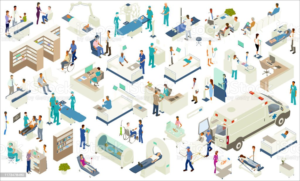 Isometric Medical Icons Isometric medical icons include scanning equipment (MRI, X-Ray, CT scan, CAT scan, etc), robot-assisted surgery, hospital beds, hospital pharmacy shelves, examination tables, hyperbaric chamber, ambulance with gurney, NICU, ultrasound procedure, nurse's station and other desks, reception, kiosk screens, mammogram equipment, medical lab, and other furniture and equipment. People include chiropractor/massage therapist, surgeons, technicians, pharmacist, optometrist, pediatrician, paramedics, a nurse checking blood pressure, and a variety of other patients, doctors, and healthcare professionals. Ambulance stock vector