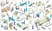 Isometric medical icons include scanning equipment (MRI, X-Ray, CT scan, CAT scan, etc), robot-assisted surgery, hospital beds, hospital pharmacy shelves, examination tables, hyperbaric chamber, ambulance with gurney, NICU, ultrasound procedure, nurse's station and other desks, reception, kiosk screens, mammogram equipment, medical lab, and other furniture and equipment. People include chiropractor/massage therapist, surgeons, technicians, pharmacist, optometrist, pediatrician, paramedics, a nurse checking blood pressure, and a variety of other patients, doctors, and healthcare professionals.