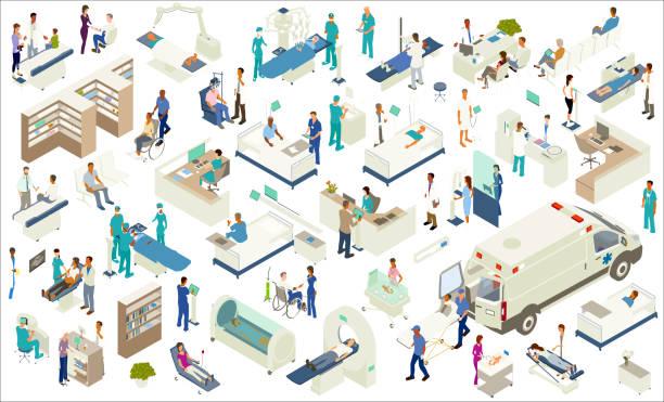 izometryczne ikony medyczne - rzut izometryczny stock illustrations