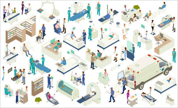 illustrazioni stock, clip art, cartoni animati e icone di tendenza di isometric medical icons - paziente