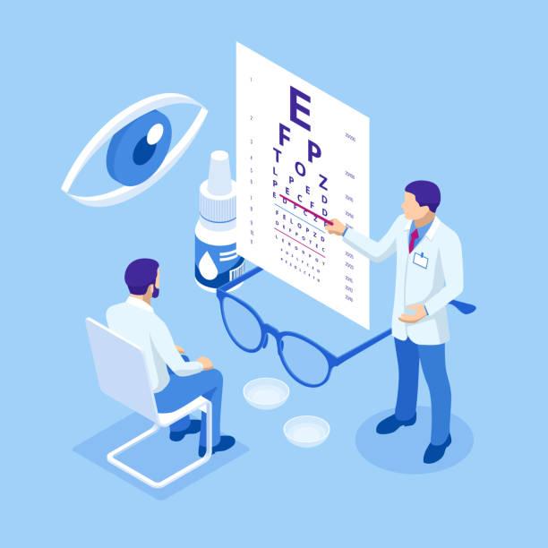isometric medical ophthalmologist eyesight check-up concept. medical ophthalmologist eyesight check-up concept. - оптометрия stock illustrations