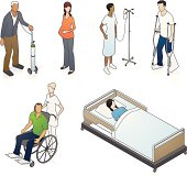 Six medical patients in isometric view. Rearrange and use as needed.