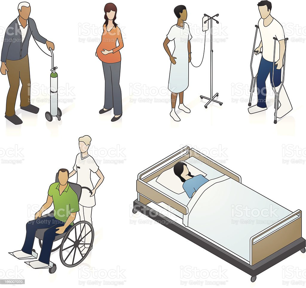 Isometric Medical Patients vector art illustration