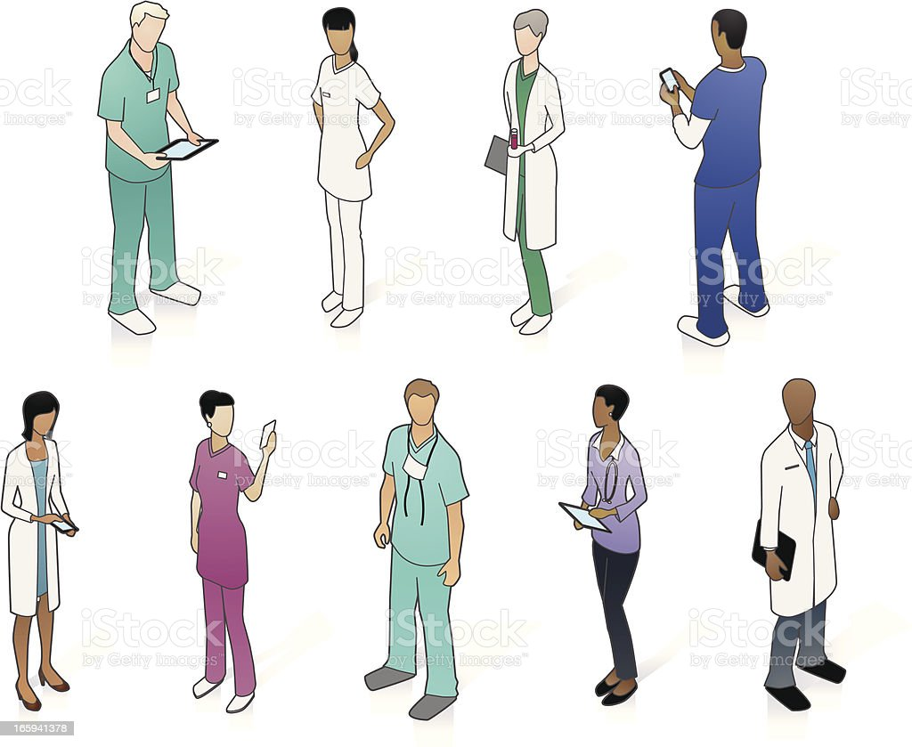 Isometric Medical People vector art illustration