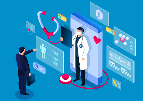 Isometric medical, smartphone online medical consultation and diagnosis application, modern digital medical technology