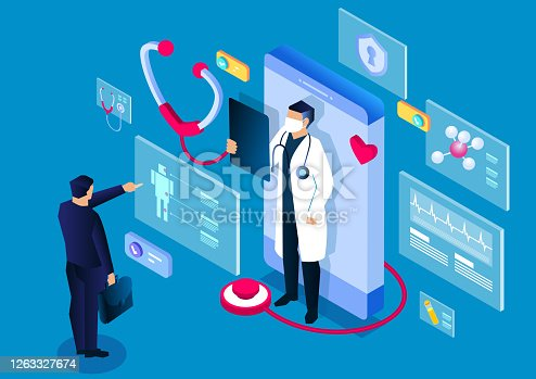 istock Isometric medical, smartphone online medical consultation and diagnosis application, modern digital medical technology 1263327674
