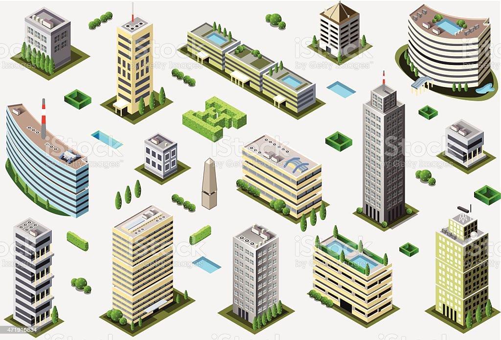 Isométricos Megalopolis edificio de - ilustración de arte vectorial