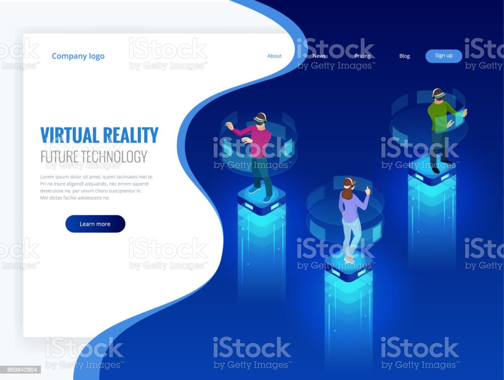 Isometric Men And A Woman Wearing Goggle Headset With