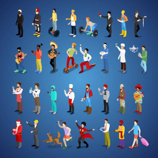 isometrische männer zeichensatz verschiedene berufe - arbeitshunde stock-grafiken, -clipart, -cartoons und -symbole