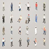 A set of 24 icons includes a variety of men representing various jobs, activities, ages and ethnicities. Illustration includes business men, policeman, doctor, a man lifting weights, a fireman, a man graduating, delivery man, surgeon, pilot, soldier, a man jogging, a chef, a construction worker, a golfer, and men dressed casually. Isometric men are illustrated in a flat vector style.