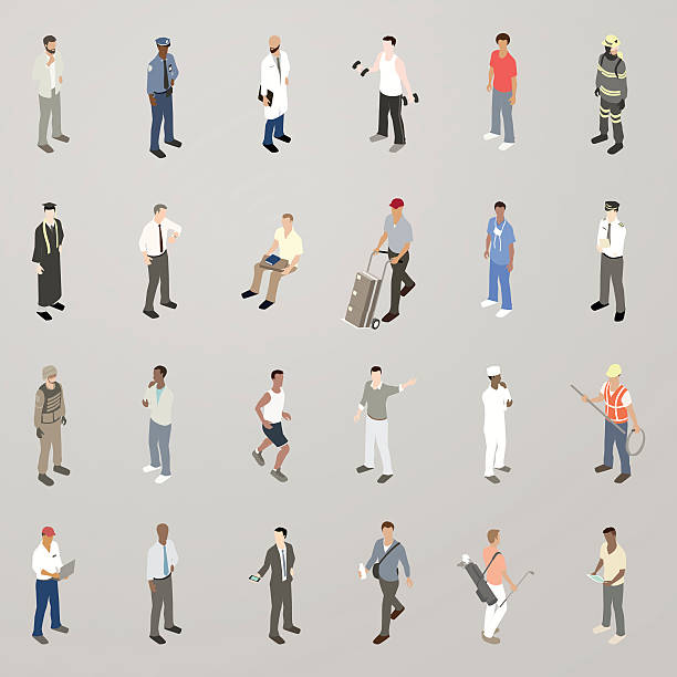isometric men flat icons - mathisworks people icons stock illustrations, clip art, cartoons, & icons
