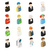 Isometric men of 16 different professions