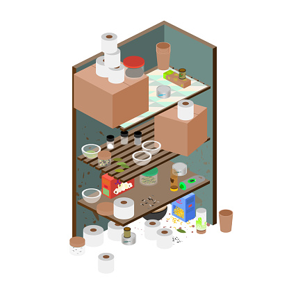 Isometric Messy Kitchen Pantry - Corner Kitchen Closet Details - Close-up View