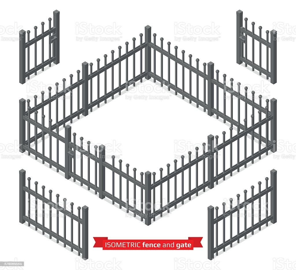 Isometric metal fence and gate vector art illustration
